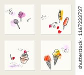 set of hand drawn ink and... | Shutterstock .eps vector #1167233737