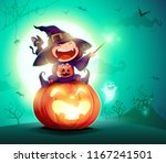 halloween little witch. girl... | Shutterstock .eps vector #1167241501
