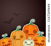 halloween pumpkins with sweets... | Shutterstock .eps vector #1167269644