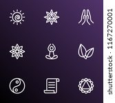 yoga icons line style set with... | Shutterstock .eps vector #1167270001