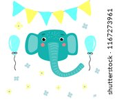cute blue elephant with festive ... | Shutterstock .eps vector #1167273961