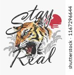 slogan with tiger and sun... | Shutterstock .eps vector #1167296644