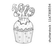 vector outline cupcake with... | Shutterstock .eps vector #1167308554