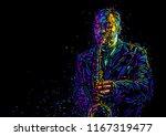 jazz saxophone player. vector... | Shutterstock .eps vector #1167319477