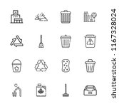 collection of 16 garbage... | Shutterstock .eps vector #1167328024