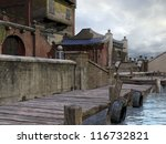 Wooden Dock In An Old Asian Town