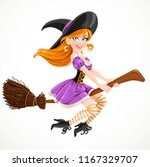 cute redheaded witch in purple... | Shutterstock .eps vector #1167329707