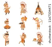 kids in native indian costumes... | Shutterstock .eps vector #1167334471