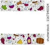 poster with doodle colored wine ...   Shutterstock .eps vector #1167340324