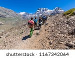 trekking inside andes valleys ... | Shutterstock . vector #1167342064