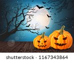 halloween pumpkins card with... | Shutterstock .eps vector #1167343864