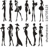 set of sexy women silhouettes | Shutterstock .eps vector #116735125