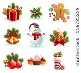 christmas object element   fir... | Shutterstock . vector #116735329