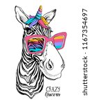 fun zebra in a bright magical... | Shutterstock .eps vector #1167354697