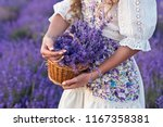 basket with lavender flowers in ... | Shutterstock . vector #1167358381
