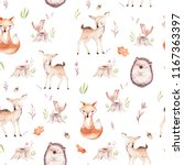 Stock photo cute baby fox deer animal nursery rabbit and bear isolated illustration for children watercolor 1167363397