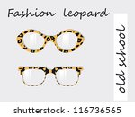 Fashion collection of oldschool glasses with leopard texture pattern