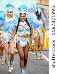London, United Kingdom, August 27th 2018:- Participants take part in the Notting Hill Carival in west London, Europe's largest street party. - stock photo