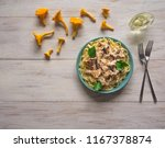 pasta with chanterelle mushroom ... | Shutterstock . vector #1167378874