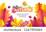 text hello autumn and space for ... | Shutterstock .eps vector #1167393364