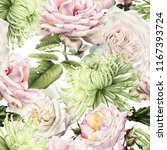 seamless floral pattern with... | Shutterstock . vector #1167393724