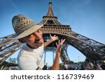 welcome to paris  happy smiling ... | Shutterstock . vector #116739469