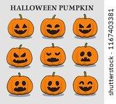 pumpkins set for halloween | Shutterstock .eps vector #1167403381