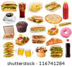 Set With Fast Food Products On...