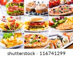 collage of various fast food... | Shutterstock . vector #116741299
