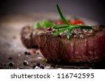 Grilled Bbq Steak On Wooden...