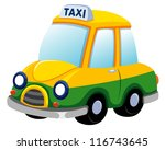 illustration of Cartoon taxi car on white - stock vector