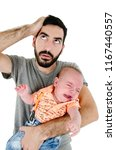young father under stress due... | Shutterstock . vector #1167440557