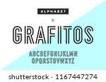 line condensed alphabet and... | Shutterstock . vector #1167447274