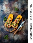 stuffed butternut squash with... | Shutterstock . vector #1167450787