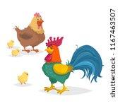 cute cartoon chicken family.... | Shutterstock .eps vector #1167463507