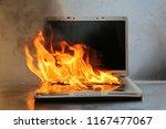 laptop damage. laptop on fire... | Shutterstock . vector #1167477067