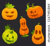 pumpkin with carved spooky and... | Shutterstock .eps vector #1167481864