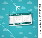 air ticket on sky background.... | Shutterstock .eps vector #116749531