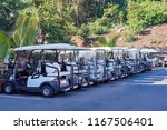 a row of golf buggies for guest ...   Shutterstock . vector #1167506401