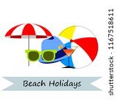 beach umbrella ball sunglasses... | Shutterstock .eps vector #1167518611