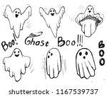 whisper ghost hand draw set.... | Shutterstock .eps vector #1167539737