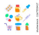 set of pharmacy icons in flat... | Shutterstock .eps vector #1167553417
