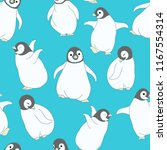 Stock vector seamless pattern baby penguin on blue background 1167554314