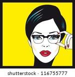 eyewear glasses woman closeup... | Shutterstock .eps vector #116755777