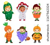 vector cartoon of cute kids in... | Shutterstock .eps vector #1167562324