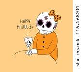 cartoon cute halloween skeleton ...   Shutterstock .eps vector #1167568204