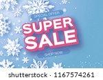 winter super sale banner. merry ... | Shutterstock .eps vector #1167574261