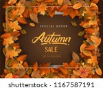 autumn sale background  hand... | Shutterstock .eps vector #1167587191