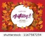 autumn sale background  hand...   Shutterstock .eps vector #1167587254