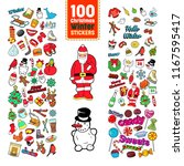 chistmas stickers collection.... | Shutterstock .eps vector #1167595417